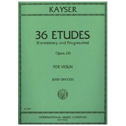 36 Etudes (Elementary and Progressive) , Opus 20 for Violin - Kayser