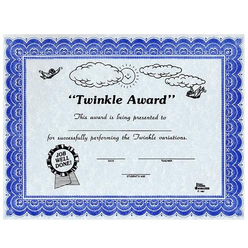 Twinkle Award Certificates