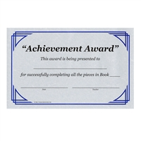 Achievement Award Certificate - Completion of Book