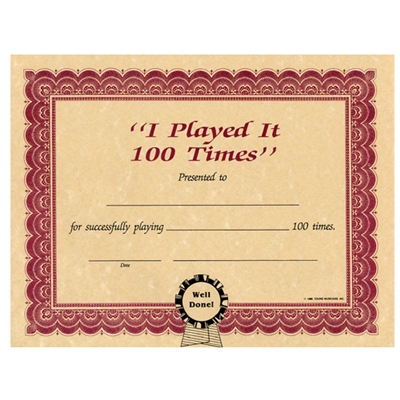 I Played It 100 Times Certificate