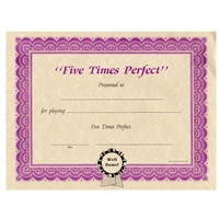 Five Times Perfect Certificates