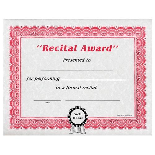 recital award certificates
